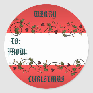 Christmas Holly Gift Tag Round Sticker