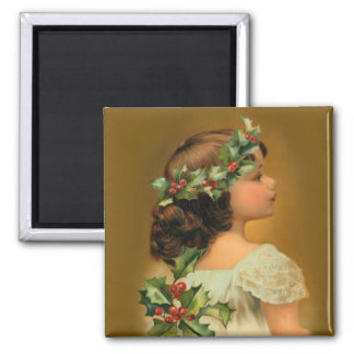 Christmas Holly Girl Magnet