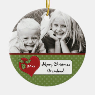 Christmas Holly Heart Grandma Photo Personalized Round Ceramic Decoration