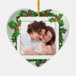Christmas Holly Heart Shaped Family Photo Ornament