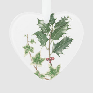 Christmas Holly & Ivy Botanical Heart Ornament
