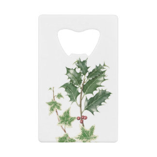 Christmas Holly & Ivy Credit Card Bottle Opener