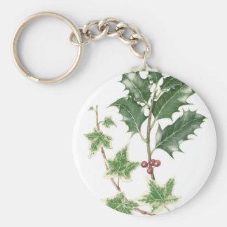 Christmas Holly & Ivy Sprig Botanical Key Ring