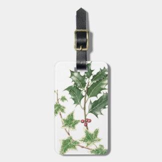 Christmas Holly & Ivy Sprig Botanical Luggage Tag