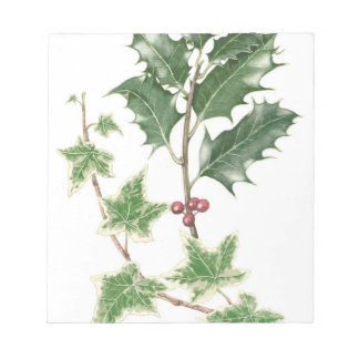 Christmas Holly & Ivy Sprig Botanical Notepad