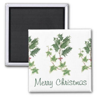 Christmas Holly & Ivy Sprig Botanical Watercolour Square Magnet