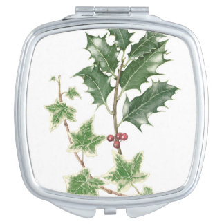 Christmas Holly & Ivy Sprig Compact Mirror