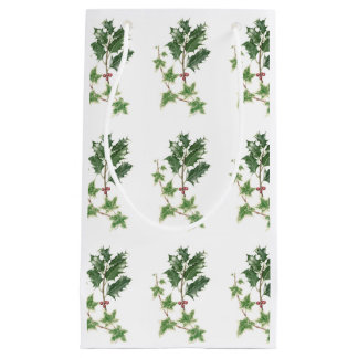 Christmas Holly & Ivy Sprigs Botanical Gift Bag