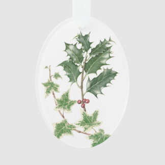 Christmas Holly & Ivy Sprigs Botanical Ornament