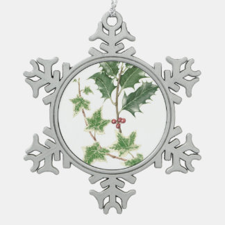 Christmas Holly & Ivy Sprigs Snowflake Ornament