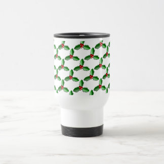 Christmas Holly leaves and Berries pattern Stainless Steel Travel Mug