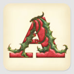 Christmas Holly Monogram A Envelope Seals Stickers