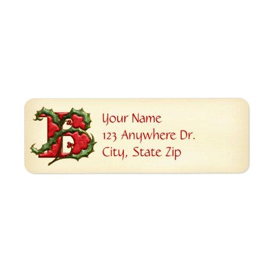 Christmas Holly Monogram B