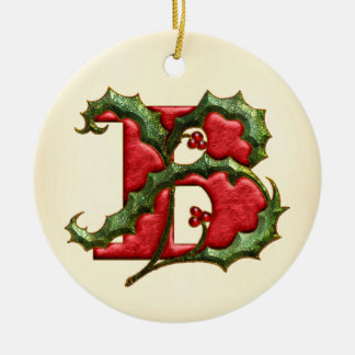 Christmas Holly Monogram B Christmas Ornament