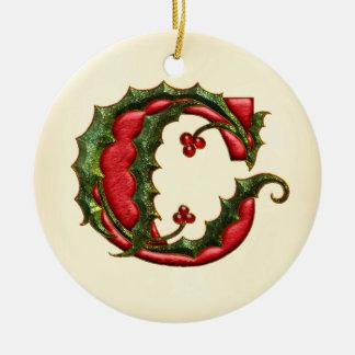 Christmas Holly Monogram C Double-Sided Ceramic Round Christmas Ornament