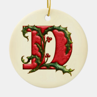 Christmas Holly Monogram D Double-Sided Ceramic Round Christmas Ornament
