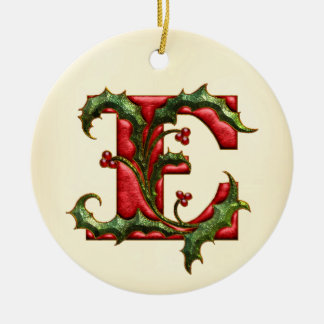 Christmas Holly Monogram E Christmas Ornament