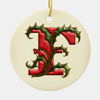 Christmas Holly Monogram F Christmas Ornament