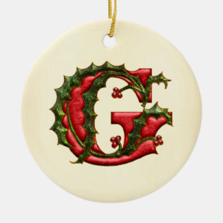 Christmas Holly Monogram G Christmas Ornament