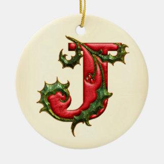Christmas Holly Monogram J Christmas Ornament