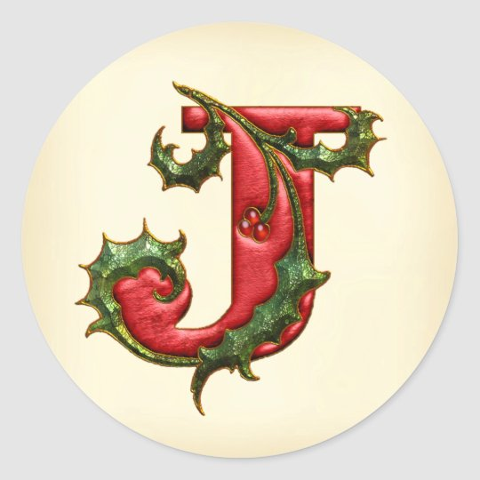 Christmas Holly Monogram J Envelope Seals