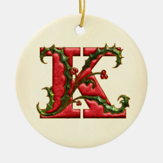Christmas Holly Monogram K Christmas Ornament