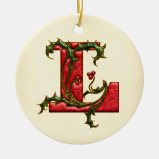 Christmas Holly Monogram L Double-Sided Ceramic Round Christmas Ornament