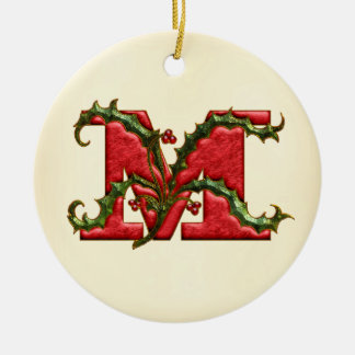 Christmas Holly Monogram M Christmas Ornament