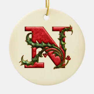 Christmas Holly Monogram N Double-Sided Ceramic Round Christmas Ornament