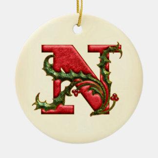 Christmas Holly Monogram N Round Ceramic Decoration