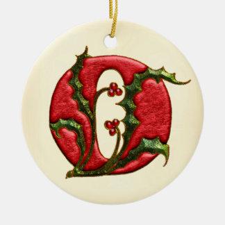 Christmas Holly Monogram O Christmas Tree Ornaments
