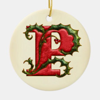 Christmas Holly Monogram P Christmas Ornament