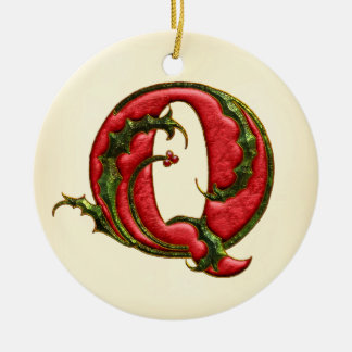 Christmas Holly Monogram Q Double-Sided Ceramic Round Christmas Ornament