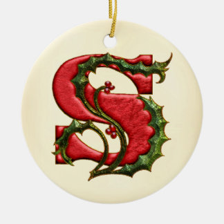 Christmas Holly Monogram S Double-Sided Ceramic Round Christmas Ornament