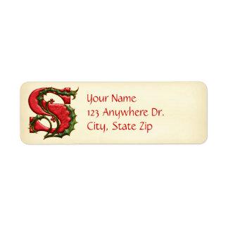 Christmas Holly Monogram S Return Address Label