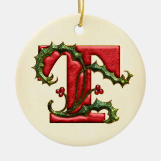 Christmas Holly Monogram T Double-Sided Ceramic Round Christmas Ornament