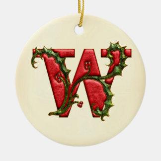 Christmas Holly Monogram W Round Ceramic Decoration