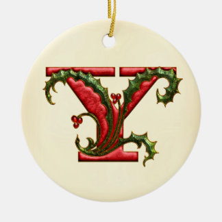 Christmas Holly Monogram Y Double-Sided Ceramic Round Christmas Ornament