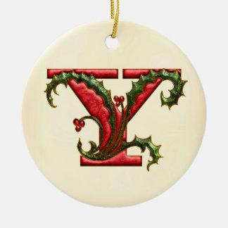 Christmas Holly Monogram Y Round Ceramic Decoration