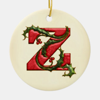 Christmas Holly Monogram Z Christmas Ornament