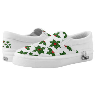Christmas holly pattern slip on shoes