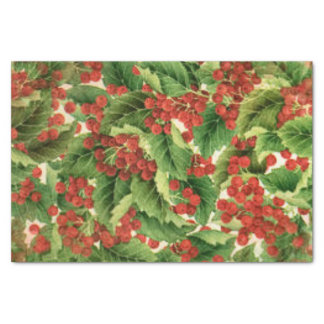 Christmas holly pattern tissue paper