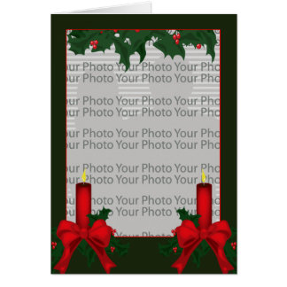 Christmas Holly Photo Frame Card