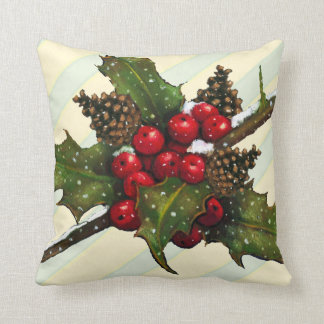 Christmas Holly, Pine Cones, Berries, Stripes Cushion