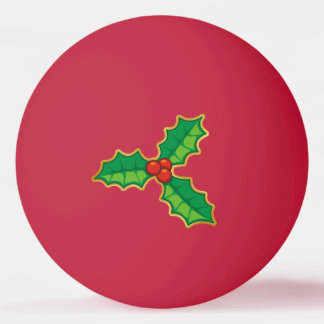 Christmas holly ping pong ball