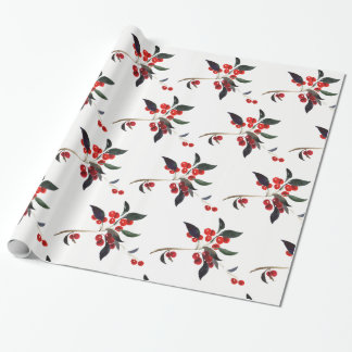 Christmas Holly Red Berries Holiday Wrapping Paper