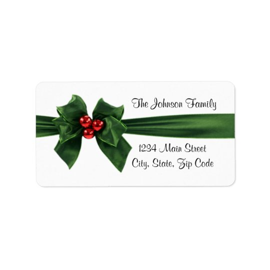 Christmas Holly Ribbon address label, customisable Address Label
