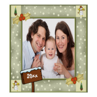 Christmas Holly & Snowmen Photo Template Posters