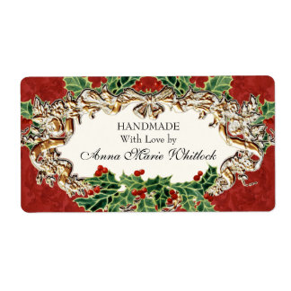 Christmas Holly w Gold Look Ribbon Damask Kitchen Shipping Label