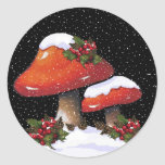 Christmas Holly With Red Mushrooms, Snow Round Sticker